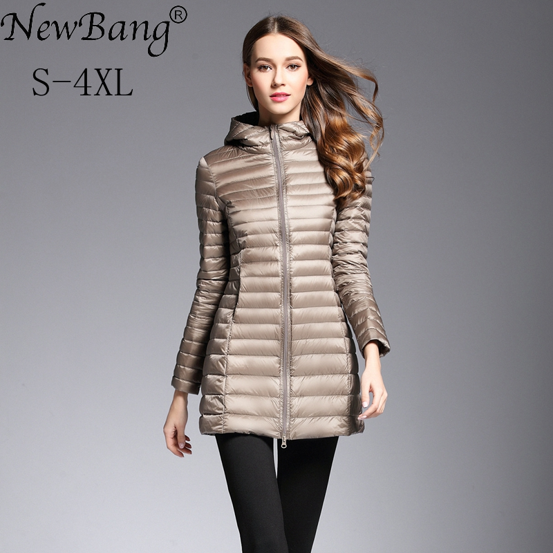 NewBang Women's   Down   Jacket Ultra Light   Down   Jacket Women Long Jacket Hooded Lightweight Slim   Down     Coat   Female Windbreakers