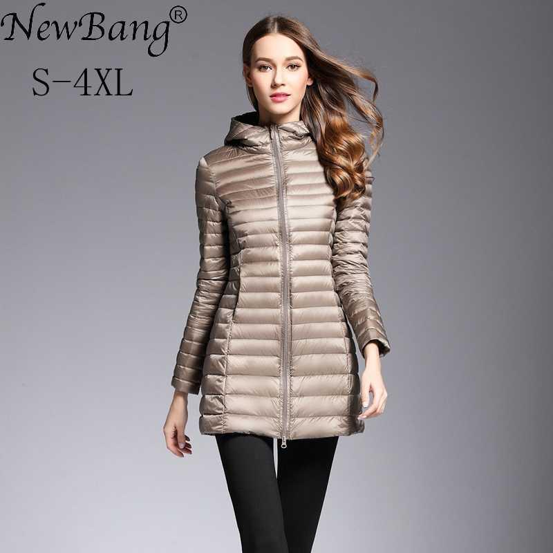 NewBang Женская пуховая куртка ультра легкий пуховик Женская длинная куртка с капюшоном легкий тонкий пуховик женские ветровки