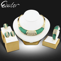 Essiter Statement Bridal Necklace Set Ruby Jewel Dubai Gold Plated Jewelry Women Jewelry Schmuck Crystal Costume