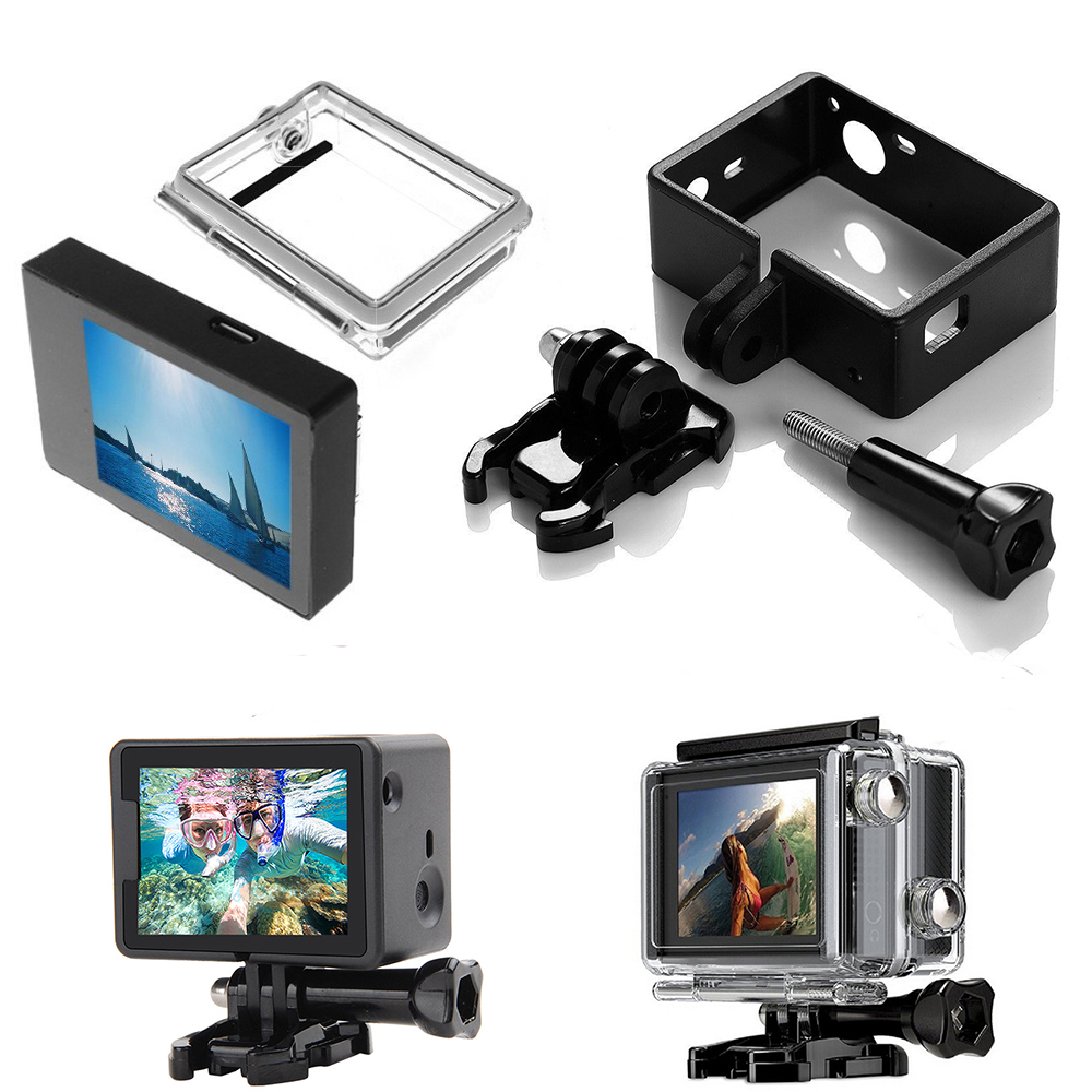LCD Screen BacPac Display Viewer For GoPro Hero 3 3+ 4 Camera+Backdoor Case Cover+Expand Protective Frame For GoPro Hero 4 3+ 3