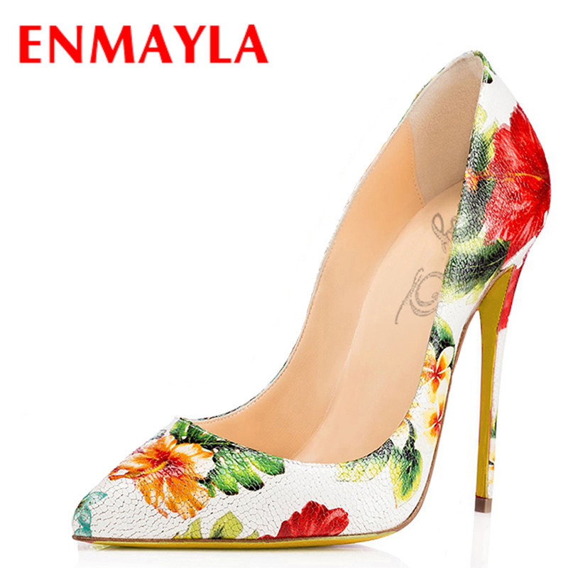 ENMAYLA Sexy Spring Stiletto Heel Pumps Women Flowers High Heels Shoes Woman Summer Pointed Toe Shoes Women Plus Size 47 plus size 2017 new summer suede women shoes pointed toe high heels sandals woman work shoes fashion flowers womens heels pumps