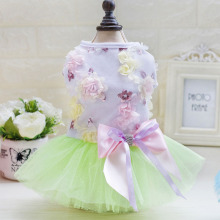 New pet color dress dog skirt princess pettiskirt, spring and summer Teddy mesh thin clothes fringe mesh teddy