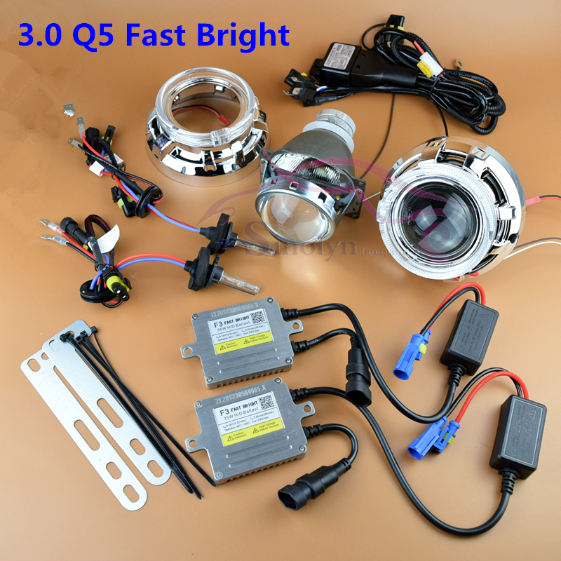Premium fast bright quick start 3.0 inch q5 hid bixenon headlight projector lens full kit led angel e