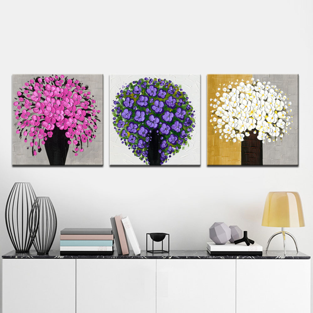 Wieco Art Amazing Flowers Modern Hand Painted Canvas Oil Paintings ...