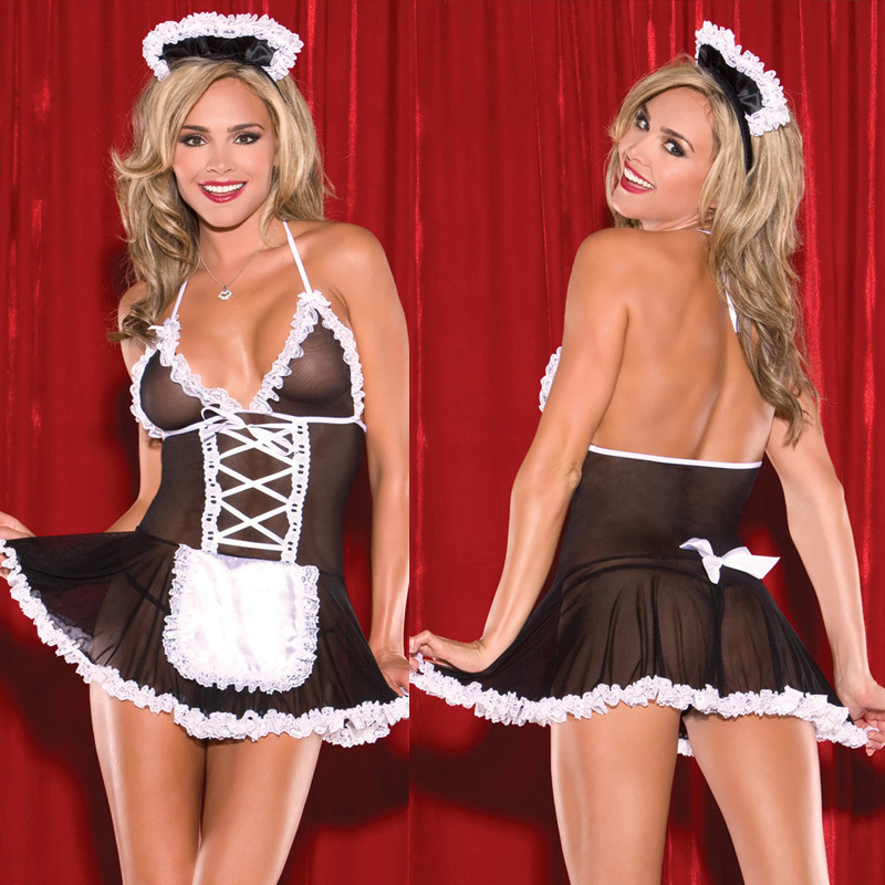 Sexy Costumes Women Cosplay Maid Uniform Lenceria Sexy Lingerie Hot Lace Perspective Babydoll Chemise Erotic Lingerie For Women