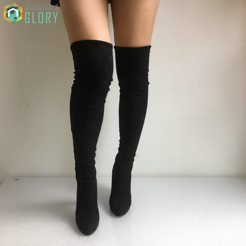 ФОТО Women Faux Suede Thigh High Boots Stretch Sexy Fashion Over the Knee Boots Shoes Woman High Heels Black Gray Wine Nude