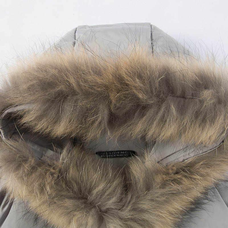 BOSIDENG/зимнее женское пуховое пальто средней длины, пуховик с натуральным мехом енота, Минималистичная Повседневная парка с регулируемой подошвой, B1501174