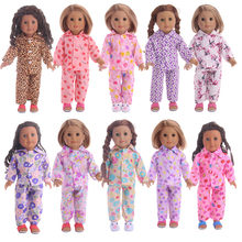 f1095bbf0b675b 10 kleuren Leuke Patroon Pyjama   Nachtjapon Fit 18 Inch Amerikaanse   43  CM Babypop Kleding Accessoires