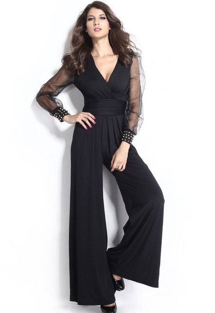Chiffon Mesh Long Sleeve Wrap V-Neck Boot Cut Jumpsuit Party Overalls,Women Wide Leg Flared Pant Jumpsuit Romper XL XXL 6650