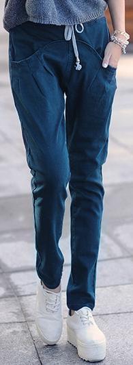 Новинка; Хлопковые Штаны-шаровары с эластичной резинкой на талии; джинсы; повседневные брюки; женские узкие брюки ярких цветов - Цвет: Зеленый