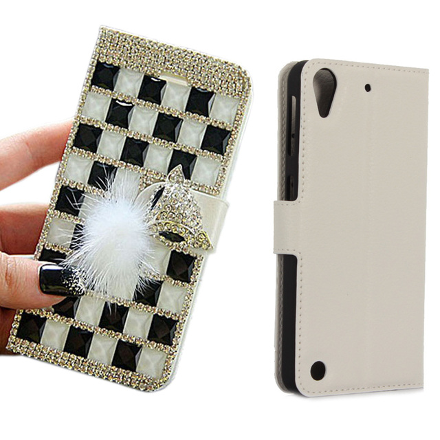 new styles cedb2 57db7 US $4.99 |DIY Handmade Full Bling Rhinestone Fox Head PU Leather Stand Flip  Wallet Phone Case Cover For HTC Desire 530 with card slot-in Wallet Cases  ...