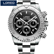 LOREO Large dial design diver Watch Fashion Brand Military Chronograph waterproof calendar luminous diamond decorate Mens Watch