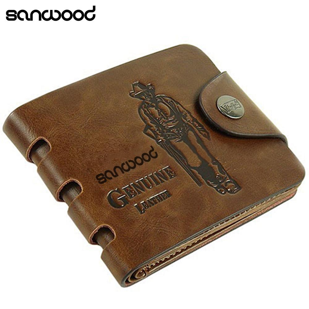 2016 New Design Men's  Genuine Leather Wallet Pockets Card Clutch Cente Bifold Purse Money Clip Cad Holder Gifts