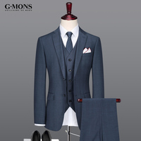 Men Suit Thin Summer Autumn New Arrivals Business Groom Wedding Wear Royal Blue Grey 50 Wool