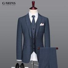 men suit thin summer autumn new arrivals business groom wedding wear royal blue grey 50 wool