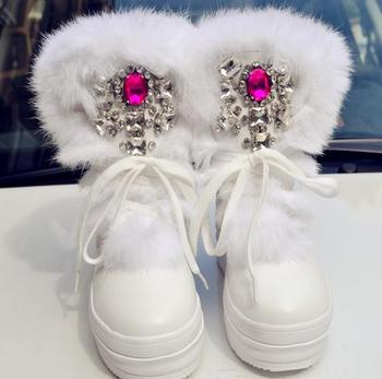 Women Winter Boots Large Size 40 Real Rabbit Fur Rhinestones Diamond Handmade Snow Boots Thick  High-Top Women Shoes Warm