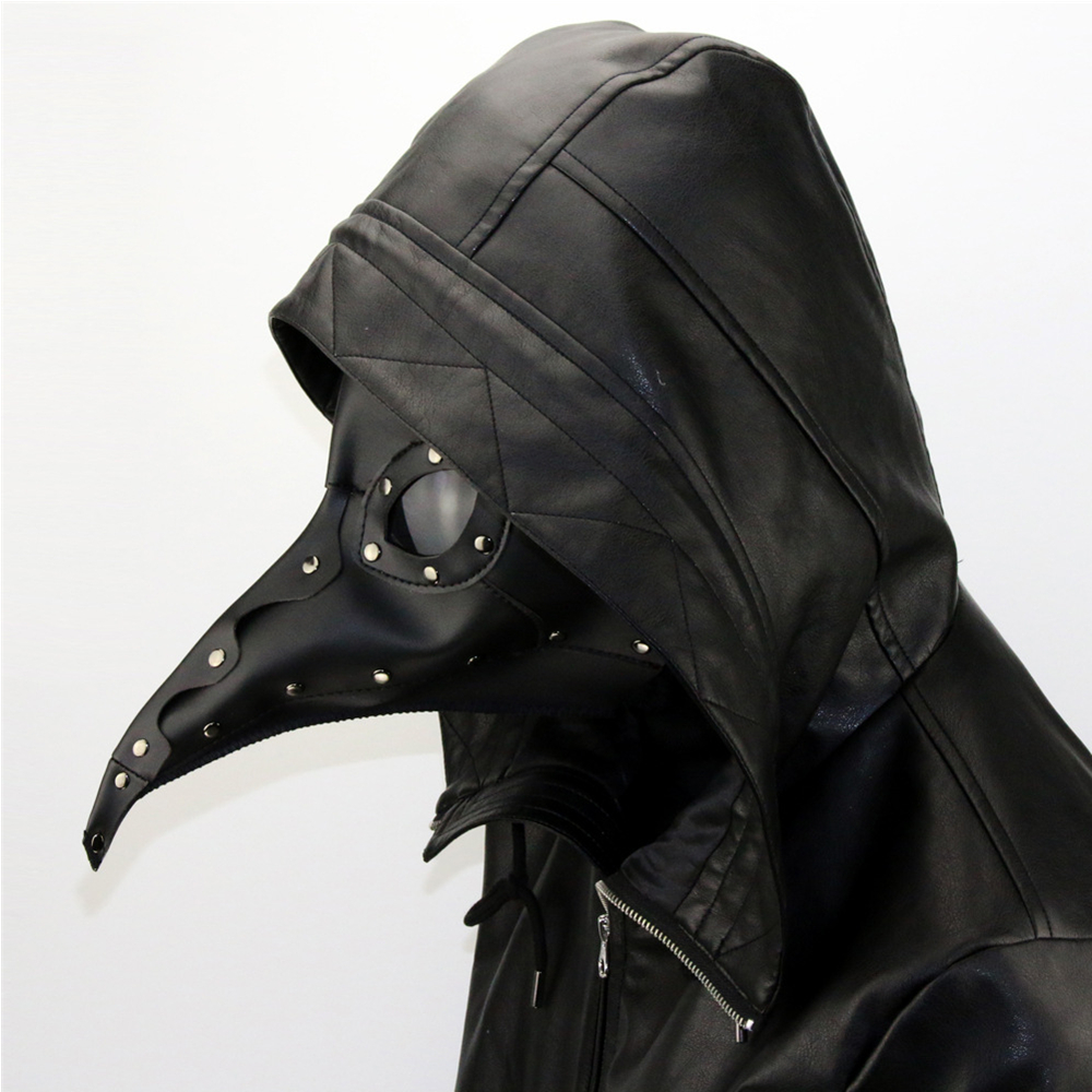 Cool PU Leather Steampunk Punk Plague Doctor Mask Bird Beak Black Gothic Halloween LARP Cosplay Adult Toys cool devil cosplay cloak black size l