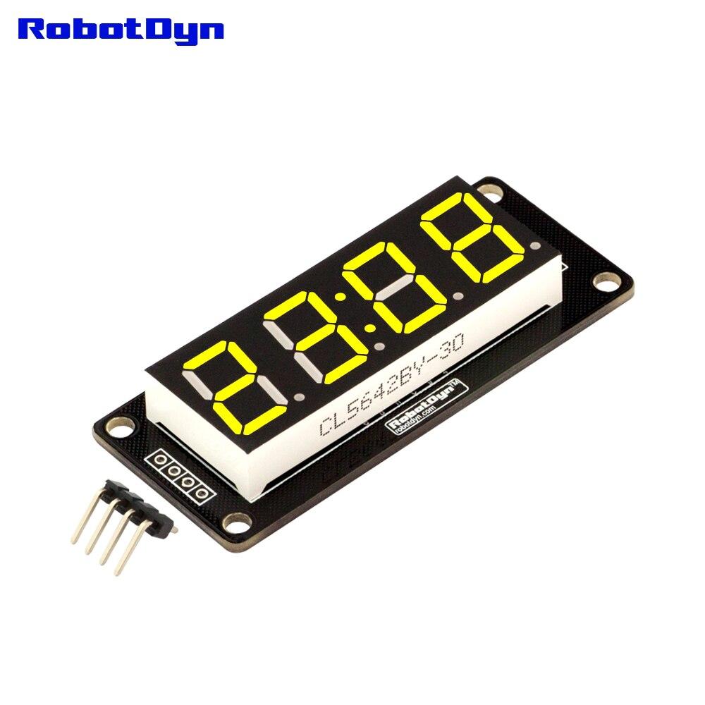 4-разрядный светодиодный 0.56 Дисплей трубки (часы, двоеточия), 7-сегментов желтый, tm-1637, disp. Размер 50x19 мм
