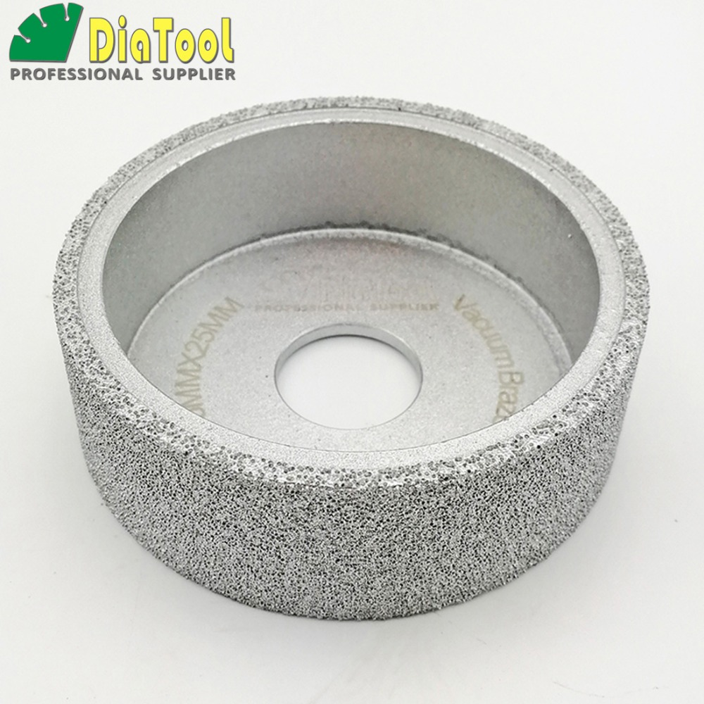 DIATOOL Dia75mmX25mm Vacuum Brazed Diamond Flat Grinding Wheel Profile Wheel For Stone, Artificial Stone Ceremics Glass Concrete