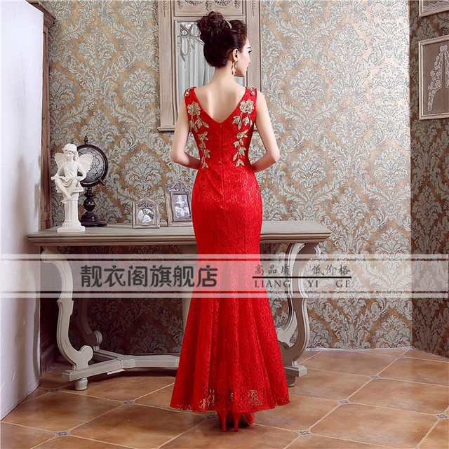 placeholder chinese cheongsam lace fish tail cheongsam sleeveless v-neck  peacock long mermaid wedding long red 4fa579f31a5b