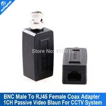 1 Pair CCTV RJ45 video balun UTP/CAT5 BNC Male To RJ45 Converter BNC Male To RJ45 coax adapter Transceiver