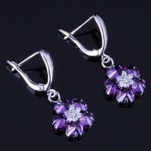 Graceful Flower Purple Cubic Zirconia White CZ 925 Sterling Silver Drop Dangle Earrings For Women V0764