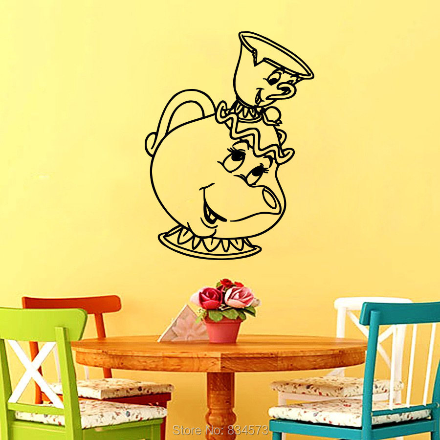 Tea Cup of tea Cafe Dining Silhouette Wall Art Sticker Decal Home ...