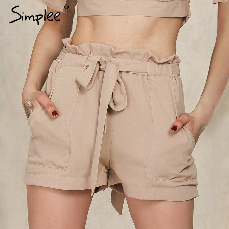 Simplee Casual Plus Size Shorts Women Elastic High Waist Sashes Black Shorts Beach Summer Female Streetwear Hot Shorts Bottoms