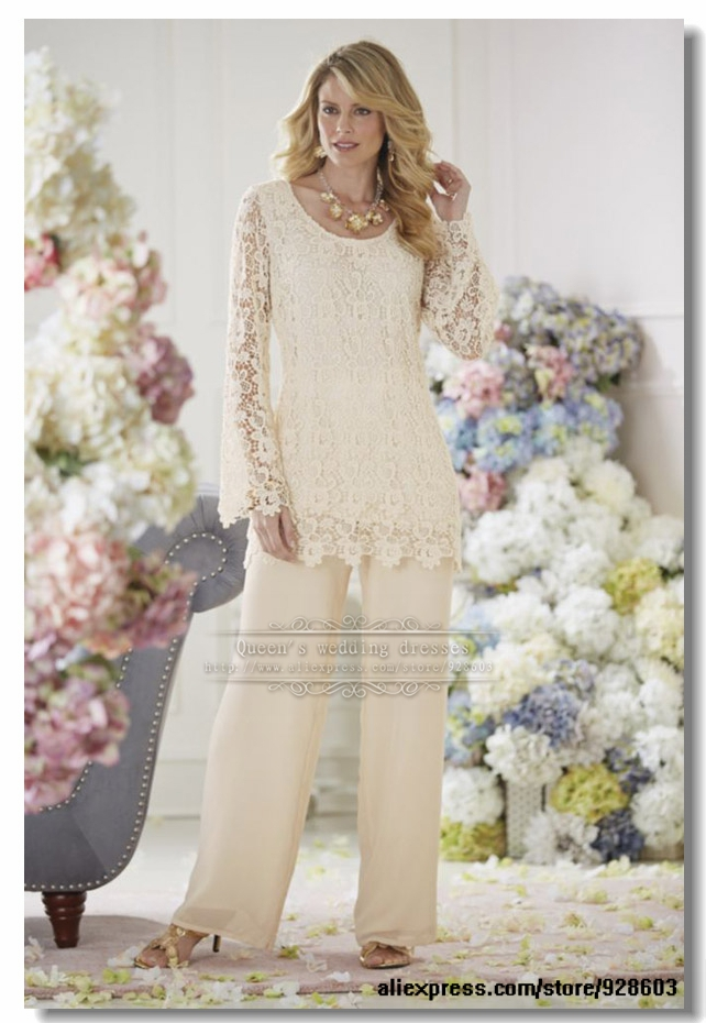 Buy 2014 elegant ivory lace 2 piece for Dress pant suits for weddings plus size