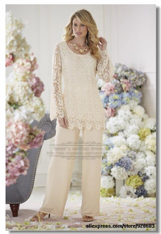 Elegant Ivory Lace 2 Piece Mother Of The Bride  Pants Suit Plus Size