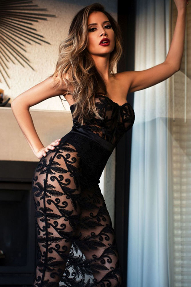 ccde32a6c02 FIYOTE Vestidos New Black Strapless Sheer Lace Romper Dress LC64151 Elegant  Womens maxi Dress Summer Dance Vestidos Mujer-in Jumpsuits from Women s  Clothing ...