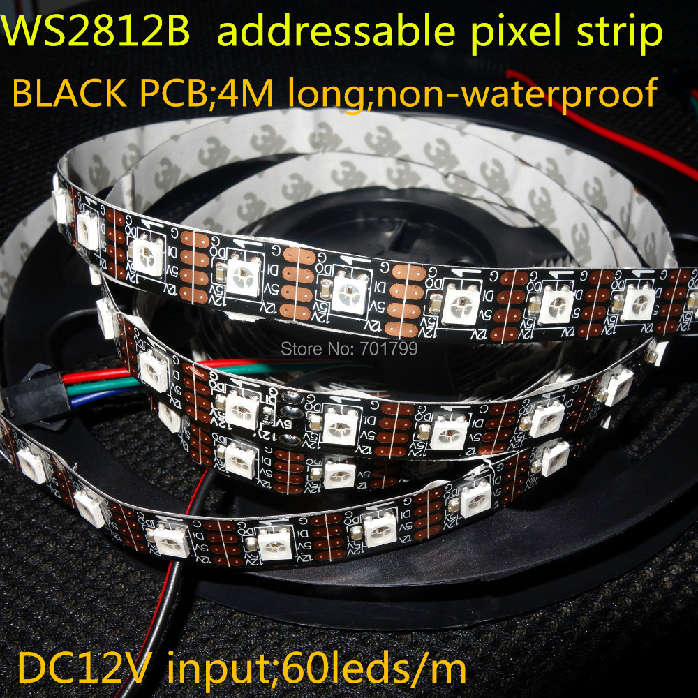4m DC12V WS2812B addressable pixel strip non waterproof 60pcs WS2812B M with 60pixels 72W BLACK pcb