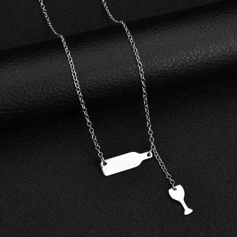 Marca caliente hombre mujer moda botella de vino Copa largo colgante collar choker llamativo cadena joyería 5 #1809212510