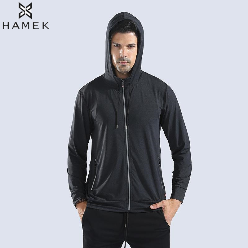 Men Hooded Running Jackets Reflective Zipper Pocket Night Outdoor Sports Jacket Basketball Fitness Jacket Breathable Anti Sweat