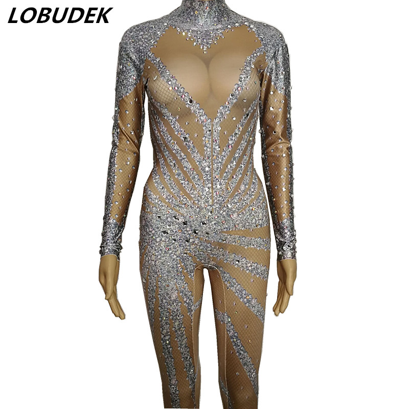Female Sparkly Crystals Zentai Jumpsuit Shining Rhinestones Elastic Jumpsuits Bar Birthday Party Show Singer Dancer DJ Costume