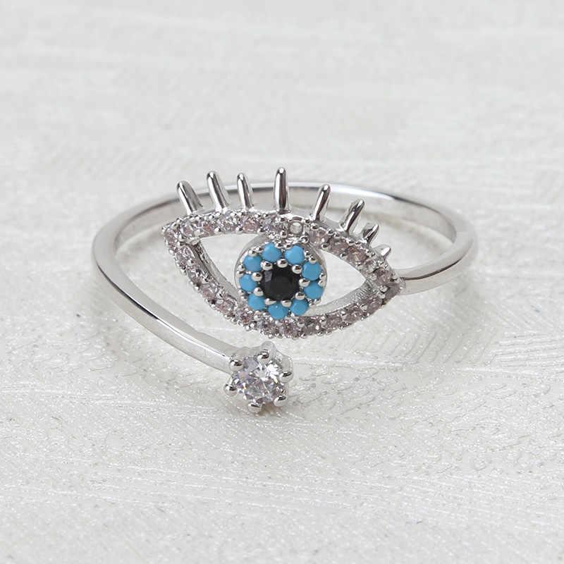 Porte-bonheur mauvais œil anneaux ouverts cuivre Micro Pave cubique Zircon anneau bijoux réglable femmes anneau cadeaux bijoux EY3472