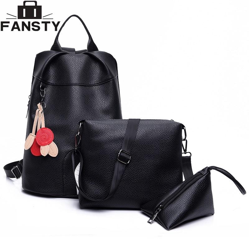 Brand Designer Women Backpack 2016 Fashion Female PU Leather Tassel Rucksack High Quality black Casual School