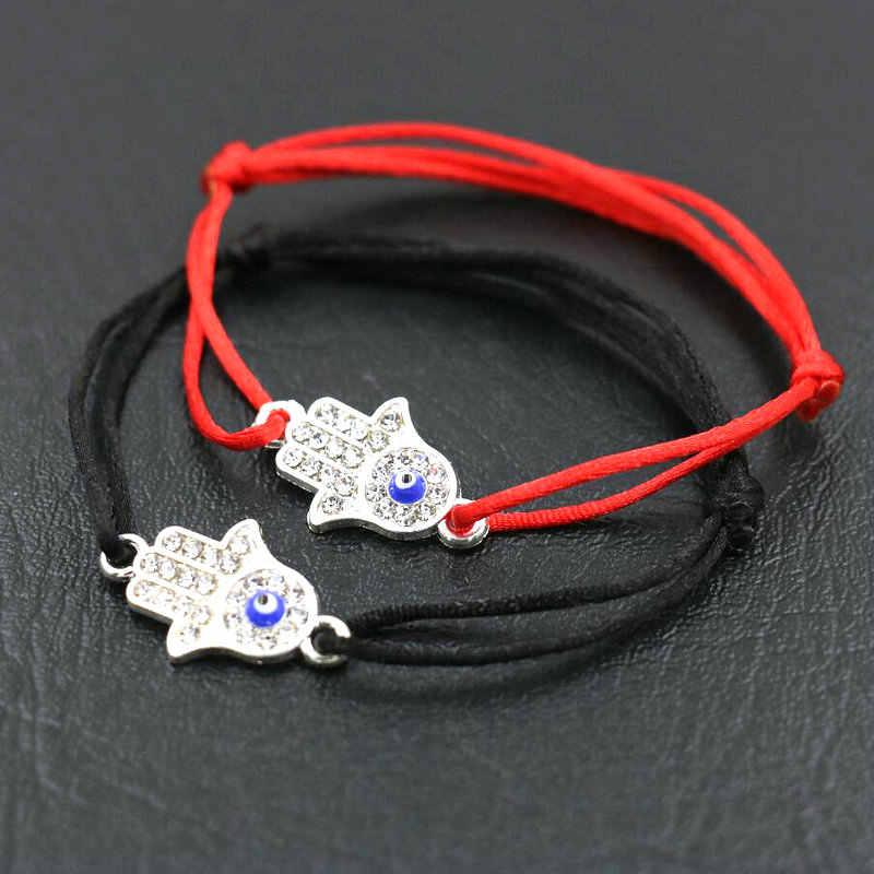 BPPCCR Simple femmes tresse corde chanceux Bracelets Hamsa main Fatima mauvais œil mince rouge corde fil chaîne Bracelet Pulseras Mujer