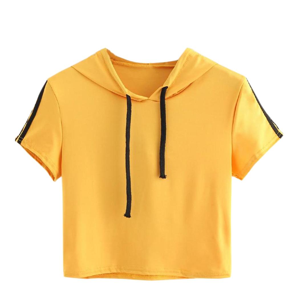 Women's Clothing Women Casual Short Sleeve Striped Hoodied Top Blouse  Shirt women's blouse women dress elegant