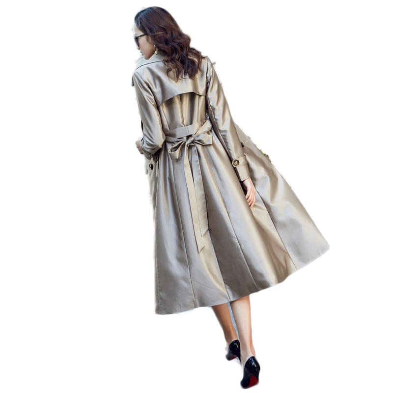 2019 Spring Autumn Women Casual Double Breasted Simple Classic Long   Trench   Coat Female Chic Maxi Windbreaker Plus Size 5XL M82