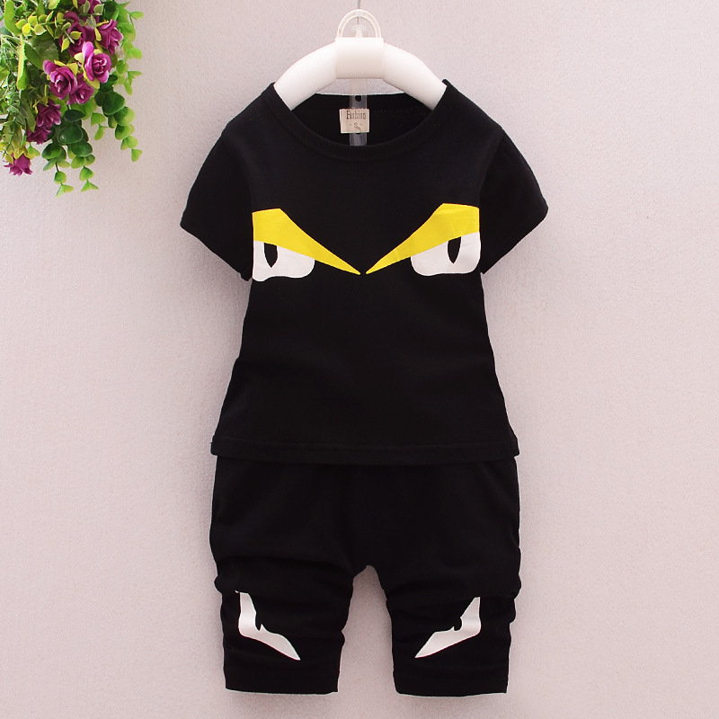 2016 Summer Hot Sale Baby Boy Clothes Casual Short-sleeve Little Monster T-shirt+shorts Suit Tracksuit The Suit of The Boy Sets