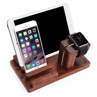 Rosewood Wooden Docking Station Holder Cradle Bracket Accessories For Apple Watch All Version Of iPhone iPad Other Phones Tablet