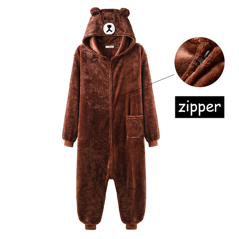 Brown Bear Kigurumi Zipper Model Animal Onesie Women Men Adult Couple Funny Jumpsuit Flannel Warm Soft Cartoon Winter Sleepwear