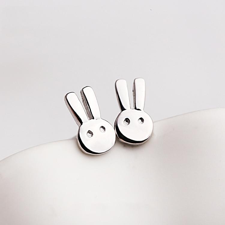 Earrings New Simple Women Fashion Jewelry 925 Sterling Silver Brushed Bunny Cute Sweet Rabbit Animal Stud Earrings E120 Jewelry & Accessories