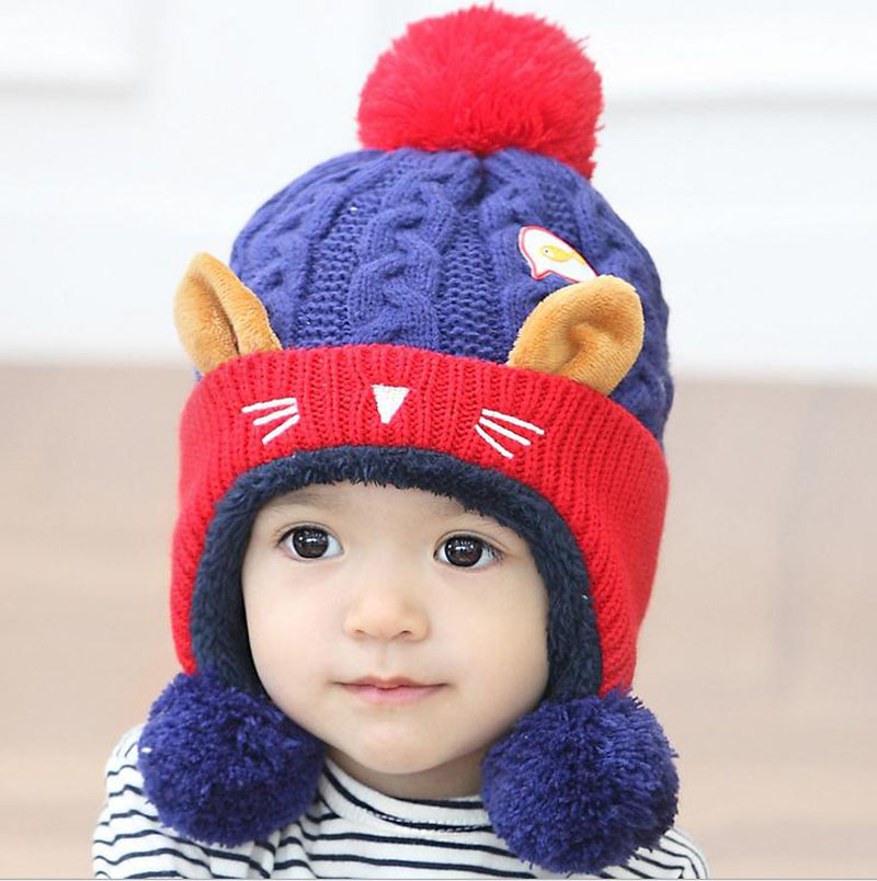 2016 Cartoon kitten plus velvet wool Autumn Winter Baby Child knitted hat kids girls Earflap Caps Age for 1-4 years old 2016 winter new soft bottom solid color baby shoes for little boys and girls plus velvet warm baby toddler shoes free shipping