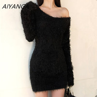 Women Mohair Sweater Dress Sexy V Neck Club Mini Dresses Ladies Long Sleeve Warm Knitted Clothing