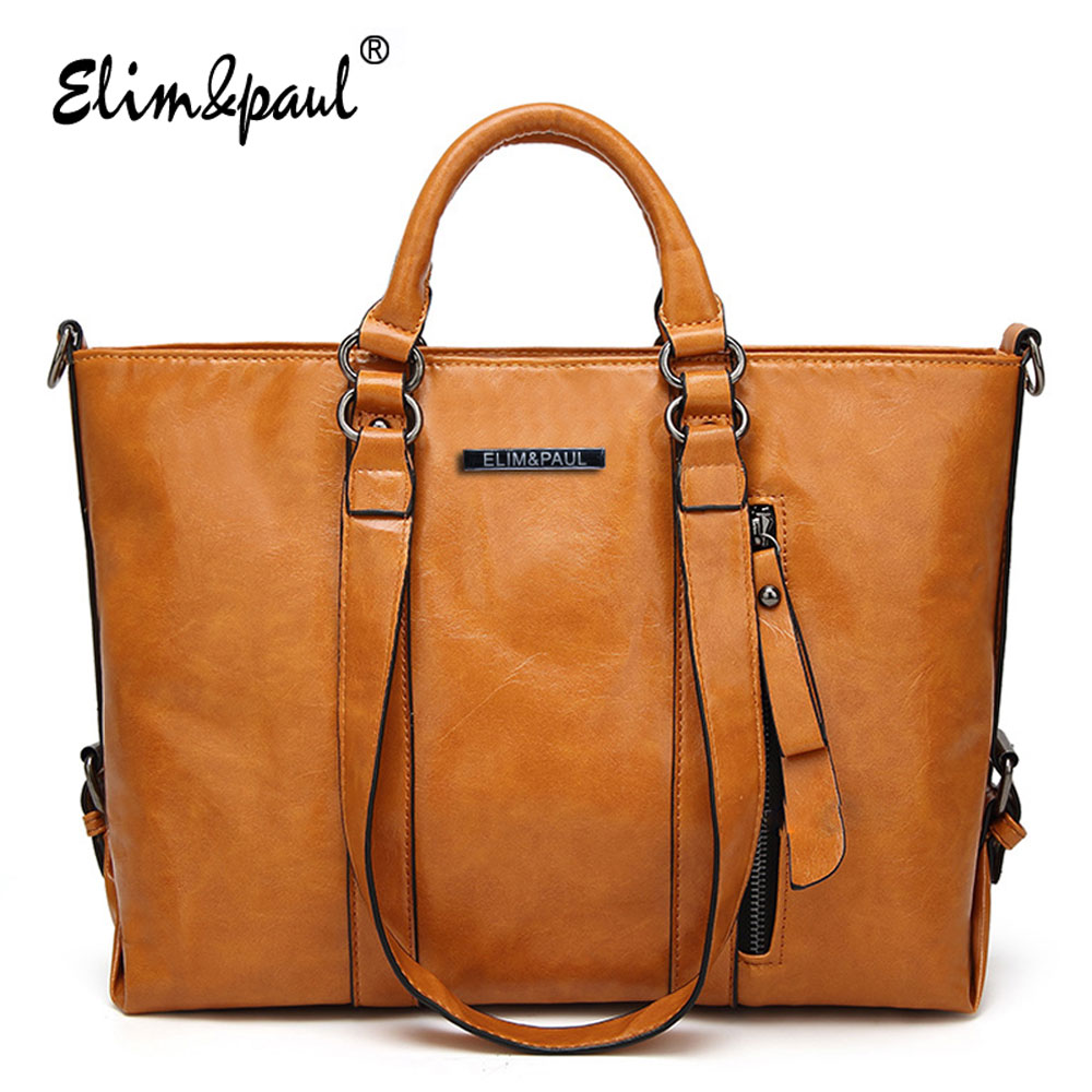 ELIM&#038;PAUL Women Leather Handbag Female Large Tote Handbags Business Shoulder Bags Women <font><b>Crossbody</b></font> Bag For Women bolsos A003