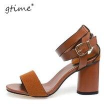 Gtime 2017 летние новые высоком каблуке, сандалии женские кожаные слово вычет ног толщиной с римскими профессиональных женщин сандалии # zwb10