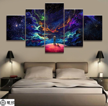 Hot Sales Without Frame 5 Panels Picture Vast Starry Sky Bright Poster Artwork Wall Art Canvas Painting Wholesale