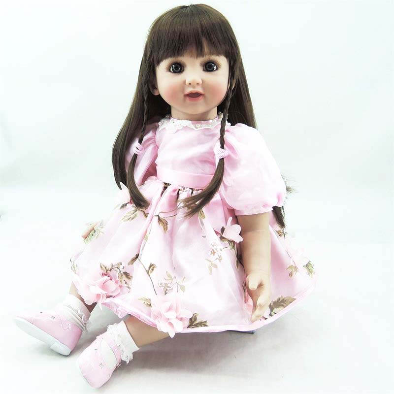 Pursue 24/60 cm Beautiful Big Brown Eyes Silicone Reborn Toddler Baby Princess Girl Doll Toys for Children Girls Bedtime Gifts original winx club bloom musa beautiful girl magiche fan doll collection toys